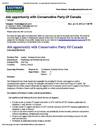 va national service desk it conservative party of canada analyst national service desk