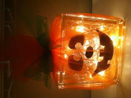 glass block jack o lantern halloween decoration craft