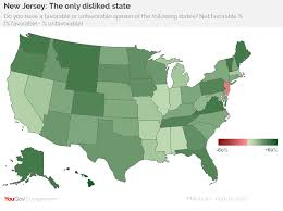 State Of New Jersey Map by Yougov New Jersey The Least Liked State In America