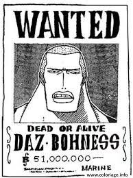 coloriage one piece wanted daz bohness dead or alive dessin
