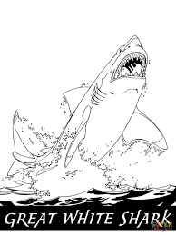 great white shark jumping out of the water design coloring page