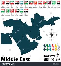 Middle East Blank Map by Vector Political Map Middle East Set Stock Vector 156557387