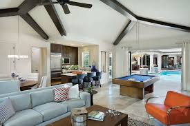 Model Homes Interior Design by Tampa Bay Pools For A Contemporary Family Room With A Ceiling