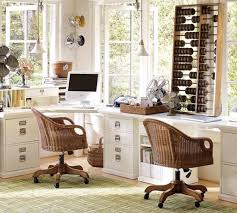 Home Office Double Desk L Shaped White Stained Wooden Office Table With Brown Wooden Table
