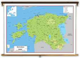 Physical Europe Map by Estonia Physical Educational Wall Map From Academia Maps