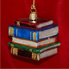 book worm stack of books glass ornament 500 glass