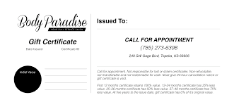 gift certificates paradise gift certificates