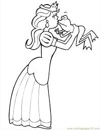 princess kissing frog coloring free frog coloring pages
