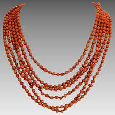 bead necklace images images Vintage coral bead necklace six strands ca 1930 akaham ruby jpg