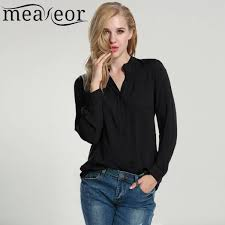womens black blouse meaneor chiffon blouse autumn casual sleeve