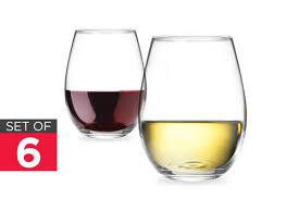 ovela set of 6 stemless wine glasses kogan