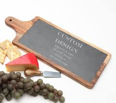 personalized acacia wood slate cheese board personalized