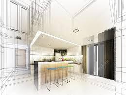 Kitchen Design Sketch Abstract Sketch Design Of Interior Kitchen U2014 Stock Photo Yaryhee