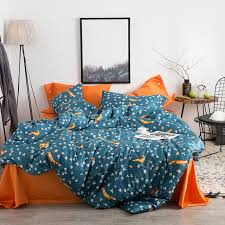 blue and orange bedding fox leaves orange blue gray bedding queen king size soft egyptian