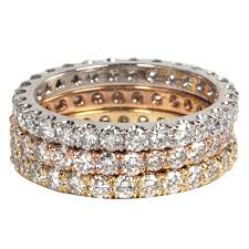 gold eternity rings trio of white and yellow gold diamond eternity bands for sale