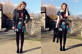 summer read zara leather jacket h u0026m dress h u0026m black tights