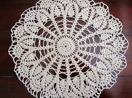 vintage crochet doily beige round table decor vintage home