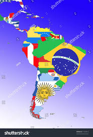 Latin America Map Countries by Symbolic Image Latin America South America Stock Illustration