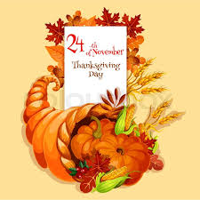 thanksgiving greeting card cornucopia harvest emblem vector
