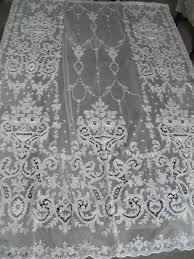 vintage tambour tulle net lace panel curtain bedspread antique