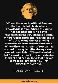 rabindranath tagore quote where the mind is without fear and the