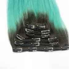 18 Remy Human Hair Extensions by 18 U201d 7pcs Clip In Human Hair Extensions T1b Green Triple Ombre