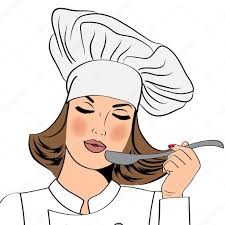 chef cuisine femme femme chef en uniforme goûter la cuisine image vectorielle