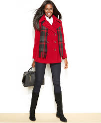 london fog double breasted scarf pea coat in red lyst