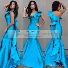 blue red plus size prom dresses mermaid one shoulder real images