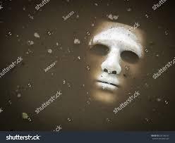 white halloween mask white scary halloween mask drown water stock photo 331540331