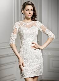 scoop neck lace wedding dress sheath column scoop neck mini lace wedding dress 002057296