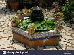 small pond and fountain in typical spanish courtyard garden jesus