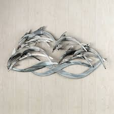 Dolphin Home Decor Wave Dancers Dolphin Stainless Steel Wall Sculpture