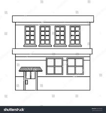 Grocery Store Floor Plan Cartoon Building Grocery Store Facade Stock Vector 651632602