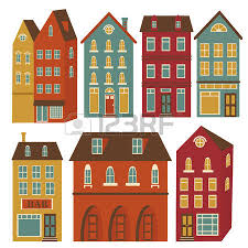 houses set in colors royalty free cliparts vectors