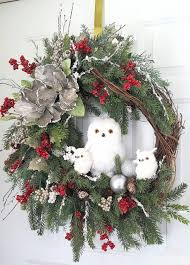 christmas wreath winter wreath christmas owl wreath front door
