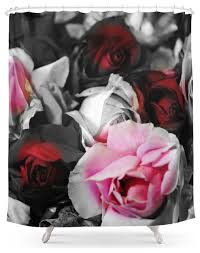 Red Black Shower Curtain Society6 Black And White Roses Fade To Pink And Red Shower Curtain