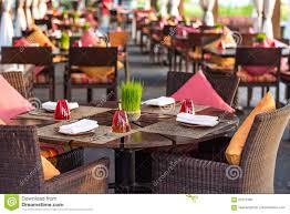 table setting at casual outdoor restaurant stock photo image