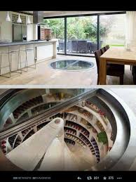 kitchen with underground wine cellar and fridge house planning