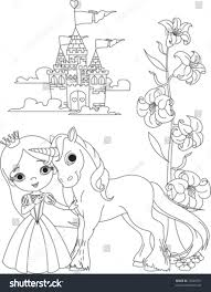 beautiful princess her cute unicorn coloring stock vector 73046761