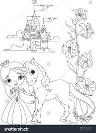 tiara coloring page beautiful princess her cute unicorn coloring stock vector 73046761