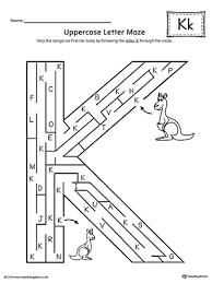 uppercase letter k maze worksheet myteachingstation com