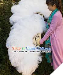 large feather fans kong ming fan goose feather fan stage show properties grey