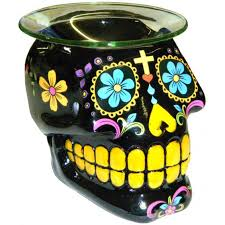 black sugar skull day of the dead oil simmer pot uses a tealight