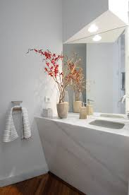 luxury white nuance of the modern powder rooms that can be decor