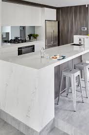 Black And White Kitchens Ideas Photos Inspirations by Quantum Quartz Engineered Stone Benchtop White U0026 Grey Kitchen