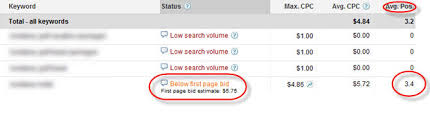 keyword bid adwords page bid estimates average position engine ready