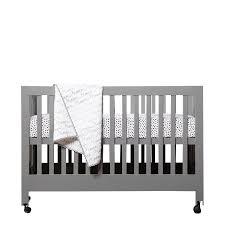 babyletto maki full size folding crib in gray m6601g