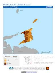 Trinidad And Tobago Map Maps Population Density Grid V1 Sedac