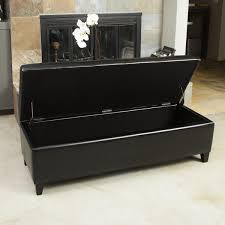 alluring black leather storage ottoman guernsey black bonded